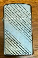 Vtg Zippo Slim Lighter Angled Strips With initials on Name Plate