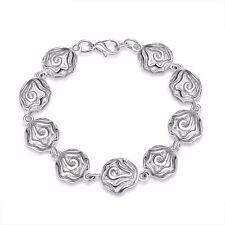 925 Silver Plt Rose Flower Charm Bracelet / Bangle Anklet Chain Ladies Gift A