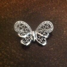14K White Gold Butterfly Pin With Diamonds