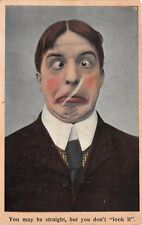 YOU MAY BE STRAIGHT BUT YOU DON'T LOOK IT~BAMFORTH COMIC POSTCARD 1909 PSTMK