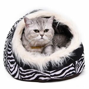 Indoor Dog House Bed Pet Kennel Soft Small Warm Cave Cushion Winter Sofa Plush