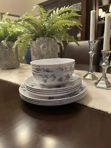 Martha Stewart 12 Piece Dragonfly Melamine Dinnerware New!!!