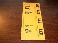 MARCH 1981 CHICAGO RTA ROUTE 371 RICHTON PARK BUS SCHEDULE