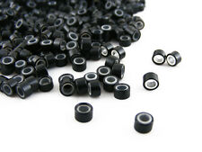 Pack De 1000 Silicona Micro Anillos Beads De 5mm Negro Para i-tip Feather Extensiones