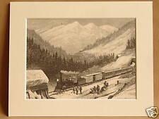 U.S MAIL SIERRA NEVADA USA ANTIQUE ENGRAVING 1876 RARE