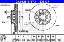 2x Bremsscheibe für Bremsanlage Vorderachse ATE 24.0325-0137.1