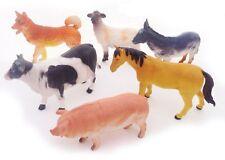 6pk Farm Animals Kids Plastic Cow Horse Figure Party Bag Filler Toys