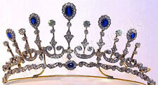 12.16cts ROSE CUT DIAMOND SAPPHIRE ANTIQUE VICTORIAN LOOK 925 SILVER TIARA