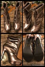 "ANKLE BOOTS Silver Metallic 5"" HEEL Platform Zips Sexy COLIN STUART Folds Sz 6.5"