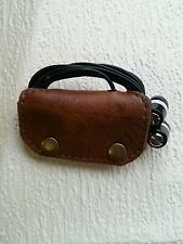 Earbud/ear phone Brown real leather case with studs