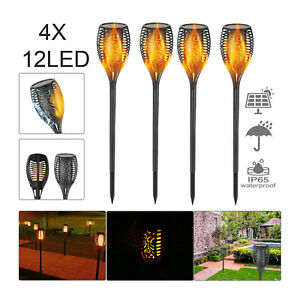 2/4X Solar Power Torch Light Waterproof Flame Flickering Dancing Garden Lamp