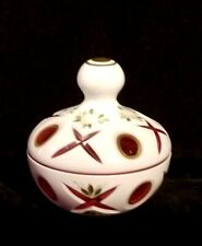 Beautiful Vintage Cut Milk Glass Powder Container w/ Red Accents Germany US Zone