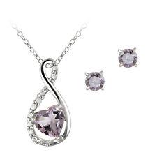 Silber 1.15ct ct Amethyst & Diamant Wirbel Herz Halskette Ohrringe Set