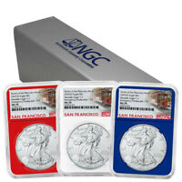 3 Coin Set of 2021(S) ASE NGC MS 70 Red, White, Blue Trolley FDI Emergency Issue