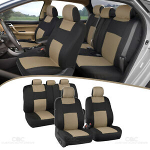 Car Seat Covers Front Rear Split Option Bench Padded Flat Cloth Beige Tan