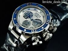 Invicta 52mm Reserve Subaqua Sea Dragon SWISS Chronograph Silver Dial SS Watch