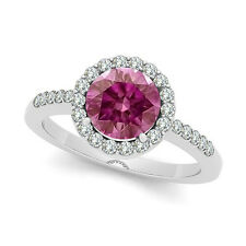 3/4 Cts HPHT Pink Solitaire Diamond 14K White Gold Halo Ring for Valentines day