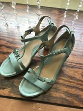ECCO Sculptured T-Strap Strappy Leather Buckle Sandals Heels Sz 41 / 10