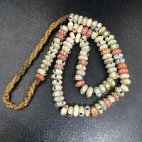 Vintage Venetian Trade Old African Glass Layer Chervons Beads Lovely Necklace