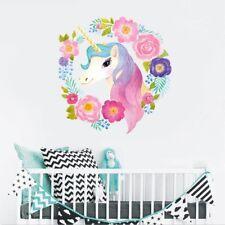 Unicorn Wreath Flowers Wall Sticker Girls Bedroom Decal Home Decor