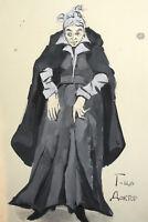 Vintage gouache painting theater costume design woman portrait