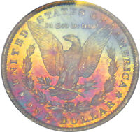 1884 O PCGS MS 64 GLOWING TEXTILE RAINBOW COLOR TONED MORGAN SILVER DOLLAR