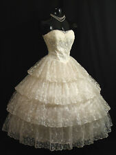 Vintage 1950's 50s Strapless Ivory Chantilly Lace Prom Party Wedding Dress Gown