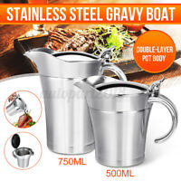 Stainless Steel Insulated Thermal Gravy Boat / Sauce Jug Bottle Pot 500ml 750ml