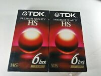 Lot of 2 TDK HS 6 Hours Premium Quality Blank VHS Tapes T-120 New Sealed