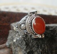 925 Solid Silver Balinese Poison Locket Ring With Carnelian cab Size 7-H67