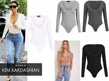Women Ladies Long Sleeve Celebrity Jersey Stretch Bodysuit Party Leotard Top