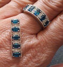 925er Silber - Ring (19) + Anhänger - Königsblauer Apatit - Juwelo