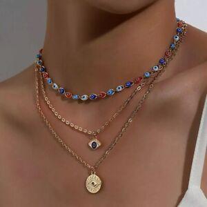 Collana donna con stelle girocollo in acciaio occhio greco collanina da catenina