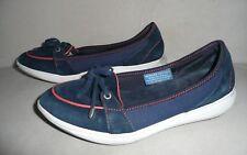 ROCKPORT Women's Walkability Low Boat Shoe Washable Suede Blue Size 7.5