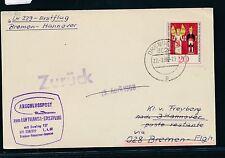 61992) LH FF Bremen - Hannover 1.4.68, Karte ab DDR