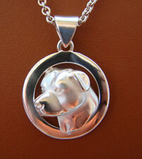 Sterling Silver Pit Bull Terrier AM Staff Head Study On Wide Circle FramePendant