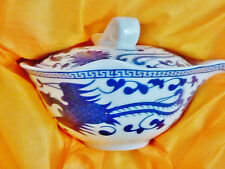 CLASSIC BLUE & WHITE HAND PAINTED PORCELAIN TEA SET FOR 6  BOXED CHINA