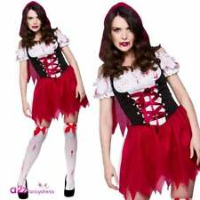 Ladies Sexy Zombie Red Riding Hood Costume Adult Halloween Fancy Dress Outfit