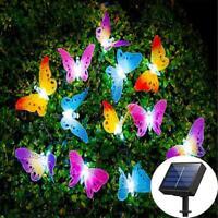LED Solar Powered Butterfly Fiber Optic Fairy String Outdoor Garden Lights