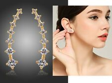 Pave Clear CZ Crystal Gold Curved Arc Bar Ear Climbers Crawlers Cuff Earrings