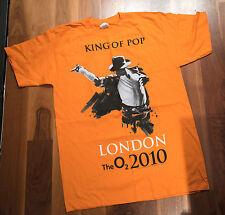 Michael Jackson Re del Pop O2 di Londra 2010 arancione T SHIRT NUOVA UFFICIALE RARO Bad
