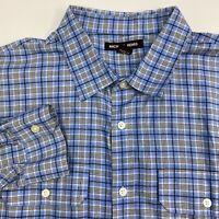 Michael Kors Button Up Shirt Mens XXL Blue Plaid Long Sleeve Casual