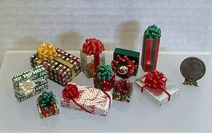 Vintage Artisan Wrapped Christmas Presents 10PC Lot Dollhouse Miniature 1:12