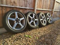"Genuine 17"" Enkei Penta Alloys Wheels 5x114 Honda ROTA FN2 Ep3 Civic Accord"