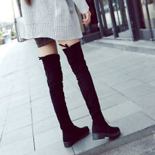 Winter Warm Women's Over Knee High Boots Casual Suede Flat Shoes Lace Up Casual