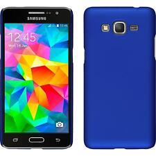 Coque Rigide Samsung Galaxy Grand Prime - gommée bleu + films de protection