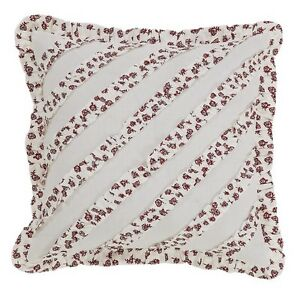 """ENGLISH COTTAGE ACCENT PILLOW W/ FILL 16X16"""" RED CREME FLORAL PRINT RUFFLES"""