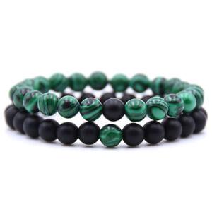 2Pcs Women/Men Lava Rock Chakra Beads Elastic Natural Stone Bracelet Bangle Gift