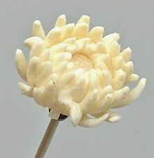 Antique Hatpin Superb Workmanship.Carved Chrysanthemum.Devoted Love. Collectible