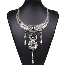 Tibet Silver Crystal Bead Flower Teardrop Pendant Collar Necklace Chaplet Carved